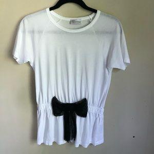 Red Valentino White w/ Black Mesh Bow T-Shirt